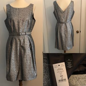 NWT WHBM Silver cocktail dress size 10